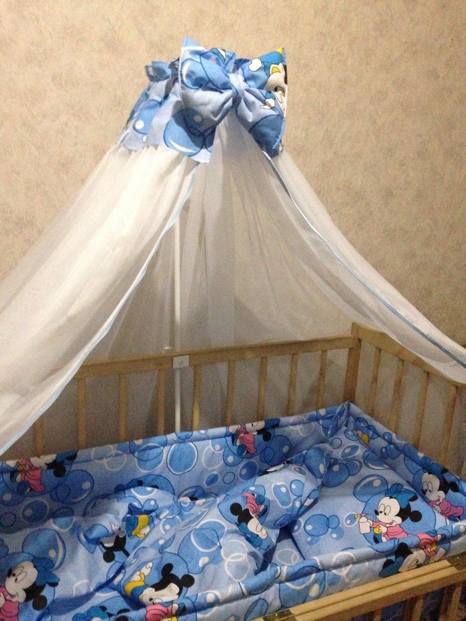комплект в детскую кроватку с балдахином ккб - 110