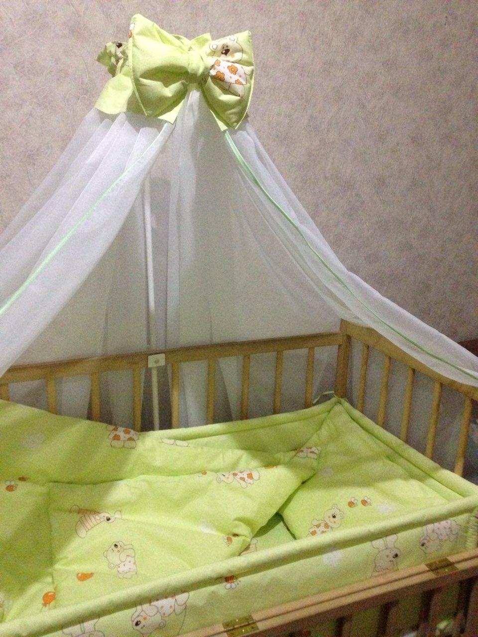 комплект в детскую кроватку с балдахином ккб - 120